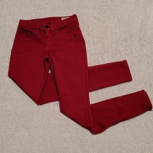 "Rag & Bone Red Skinny Jeans sz 25 Inseam 29"""